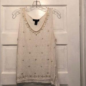 100% linen white house black market sleeveless top